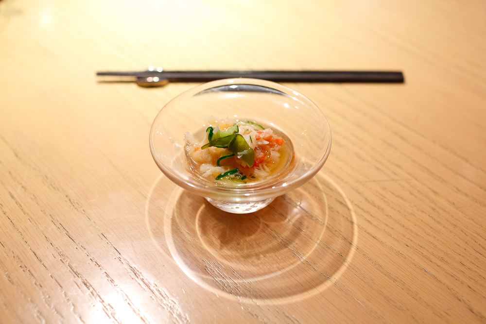 6th Course: Sumomomo - Snow crab and cucumber