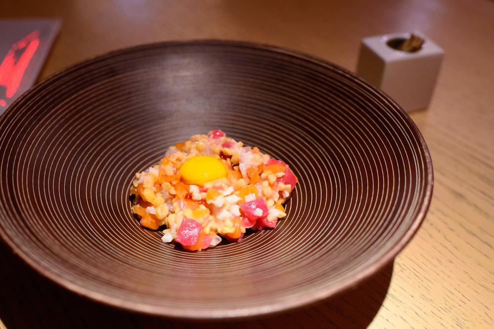 Tuna, salmon, pickled squash, radish, natto, quail egg