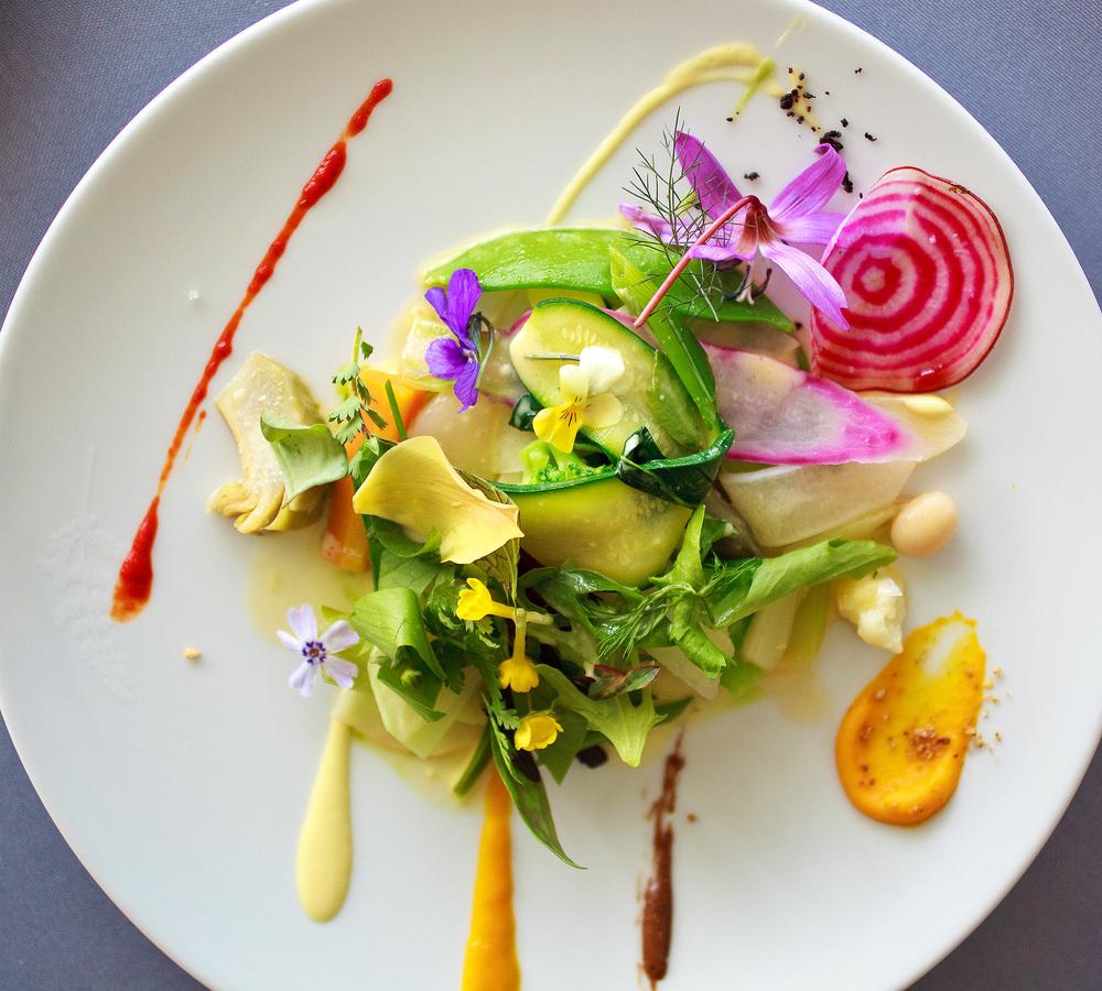 Michel Bras - La Gargouillou de jeunes légumes; graines et herbes, lait de poul à la noisette