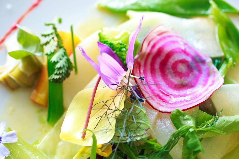 Michel Bras - La Gargouillou de jeunes légumes; graines et herbes, lait de poul à la noisette, gros plan