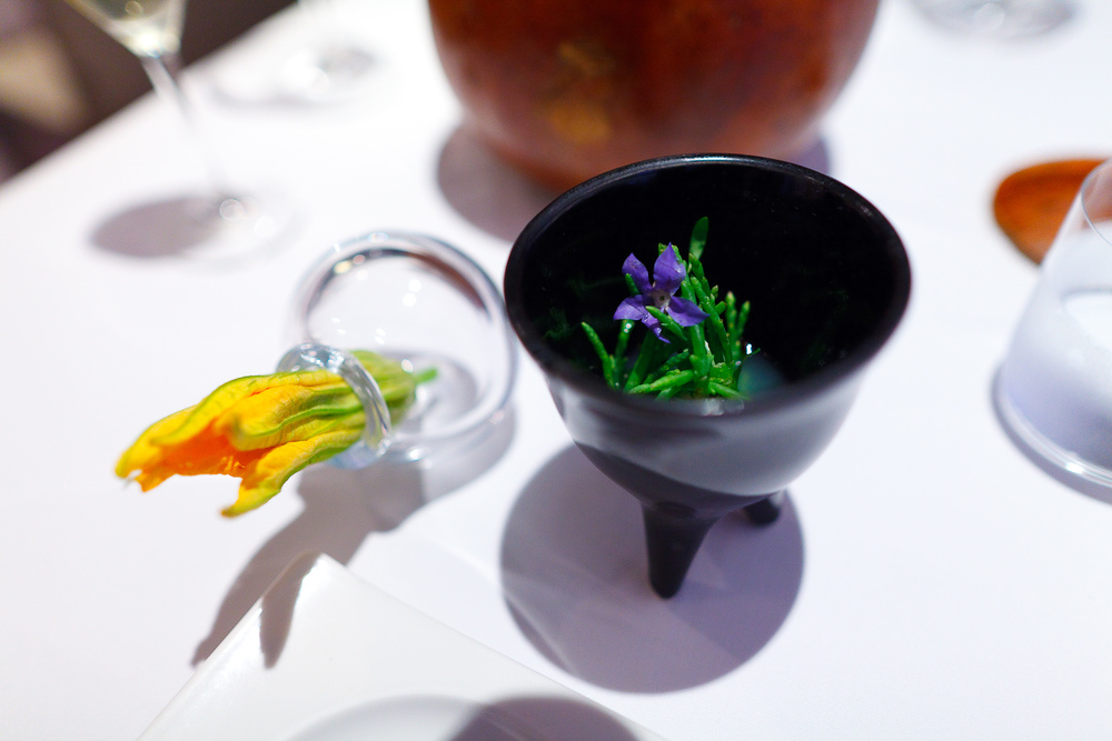 Amuse Bouche: Flor de calabaza rellena con frijol, chile serrano (squash blossom with refried beans and serrano), Salicornia, aguacate, pepino en aguachile