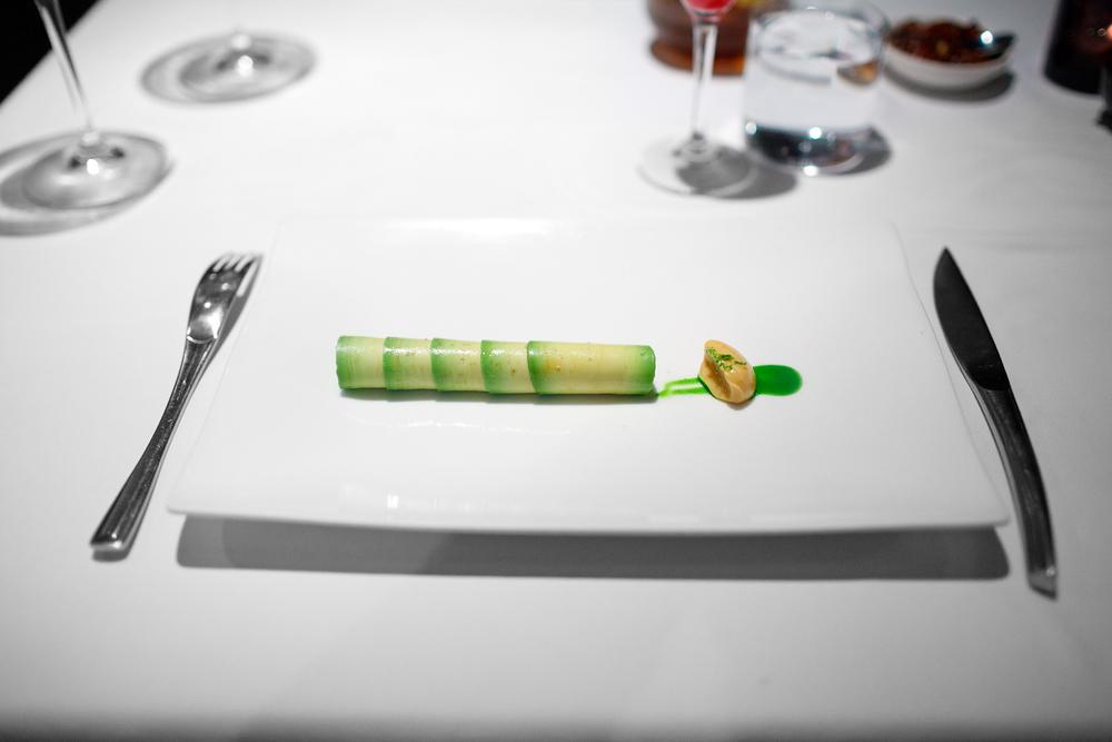 3rd Course: Flautas de aguacate rellenas de camarón cristal. Mayonesa de chipotle rallado. Emulsión de cilantro.