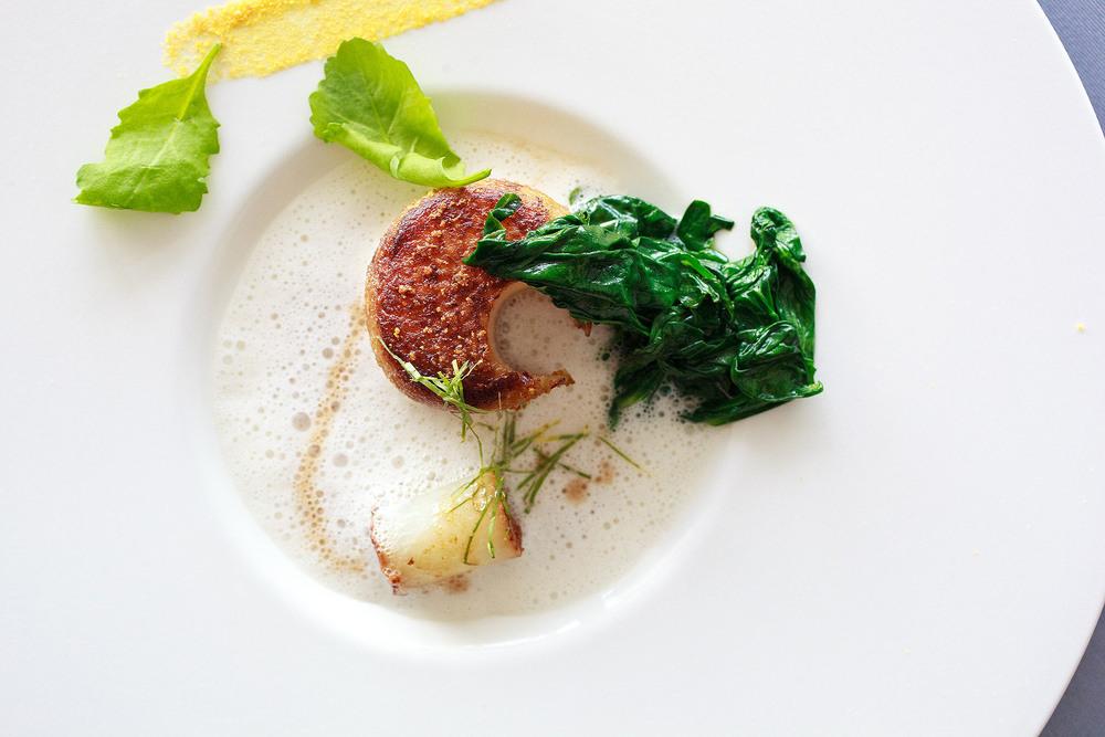 Michel Bras - Chou-rave cuit en cocotte, doré à l'orange, baignées d'un lait d'orge torréfié