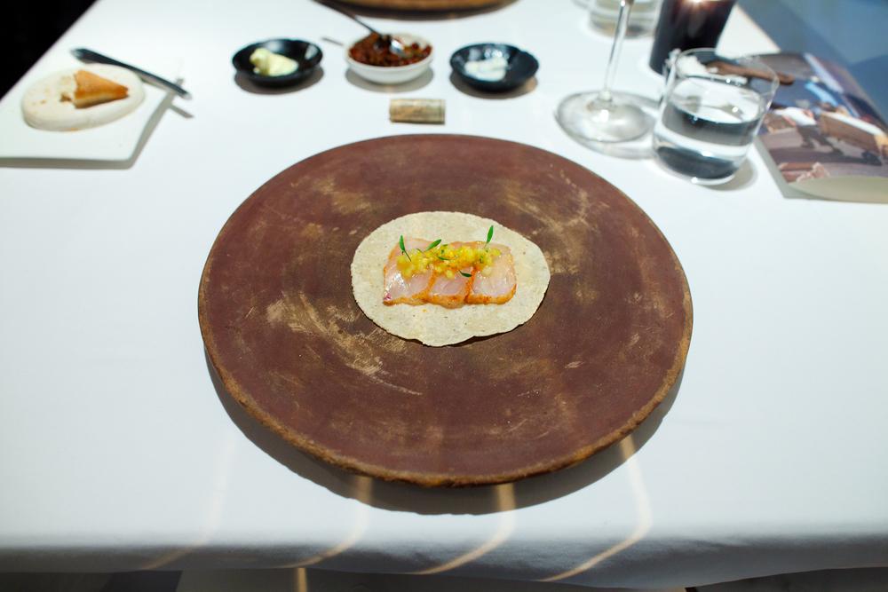 3rd Course: Taco de tataki de robalo al pastor, piña (Taco al pastor with snook, pineapple mayonaise)