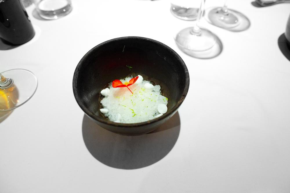 7th Course: Granizado de margarita, merengue de cointreau y limón (margarita shavings, cointreau merengue)