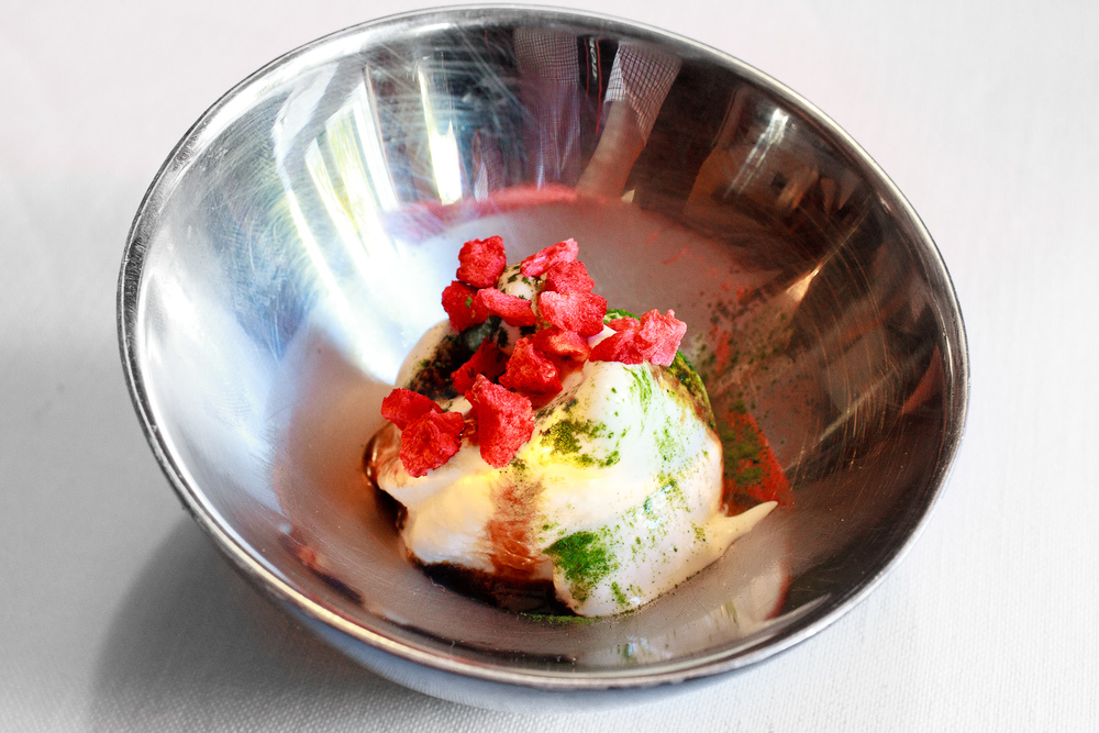 El Bulli - Parmesan Ice Cream with Modena, Basil, and Strawberry-LYO
