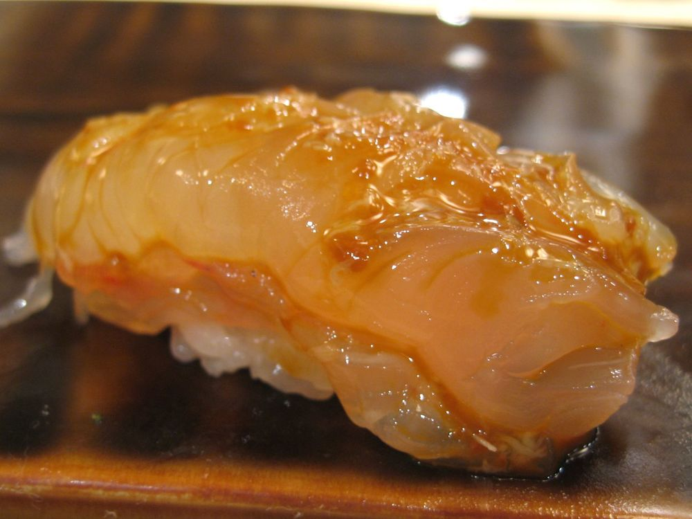 Live kuruma ebi with brain sauce