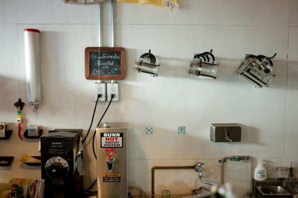 Bear Pond Espresso, Tokyo - French Press on the wall