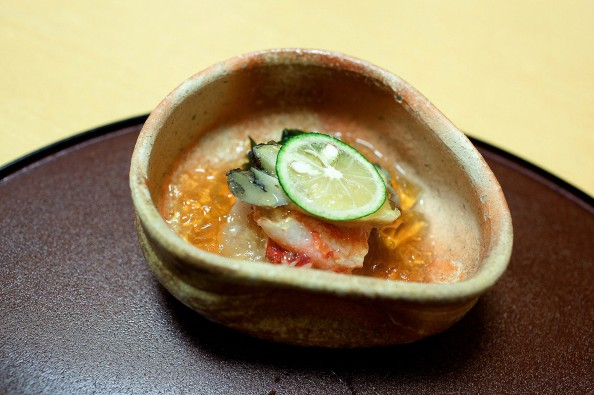 Koju, Tokyo - Abalone, king crab and wakame seaweed with vinegar jelly