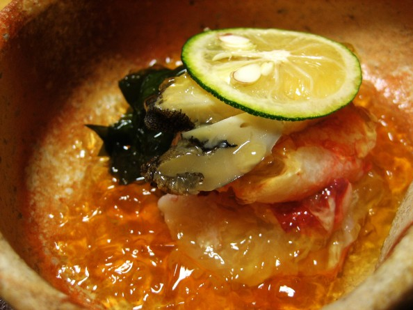Koju, Tokyo - Abalone, king crab, and wakame seaweed with vinegar jelly (up close)