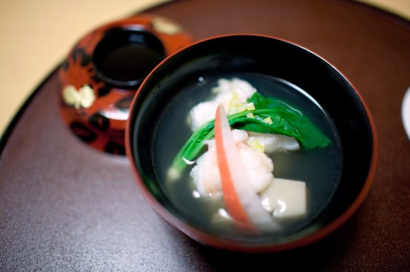 Koju, Tokyo - Japanese clear broth soup made from dried bonito flakes with lobster and Japanese turnip
