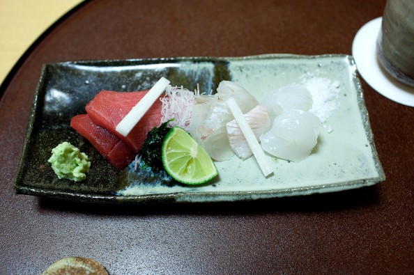 Koju, Tokyo - Sashimi course with tuna, flatfish, and oval squid