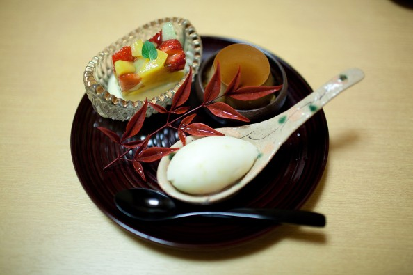 Koju, Tokyo - Fruit jelly with Yuzu sherbet and custard pudding, flavored with Japanese roasted tea