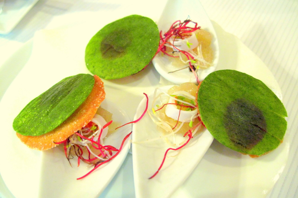 Pierre Gagnaire, Paris - Cucumber gelée, stuffed hearts of palm, crispy tuile with herb paper & raspberry confiture
