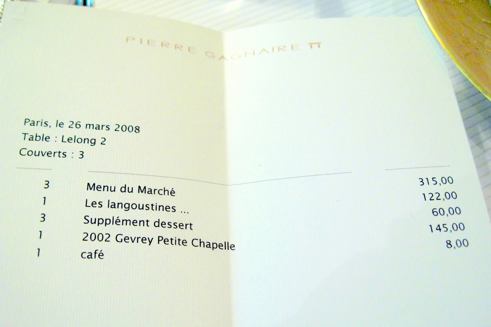 Pierre Gagnaire, Paris - l'Addition