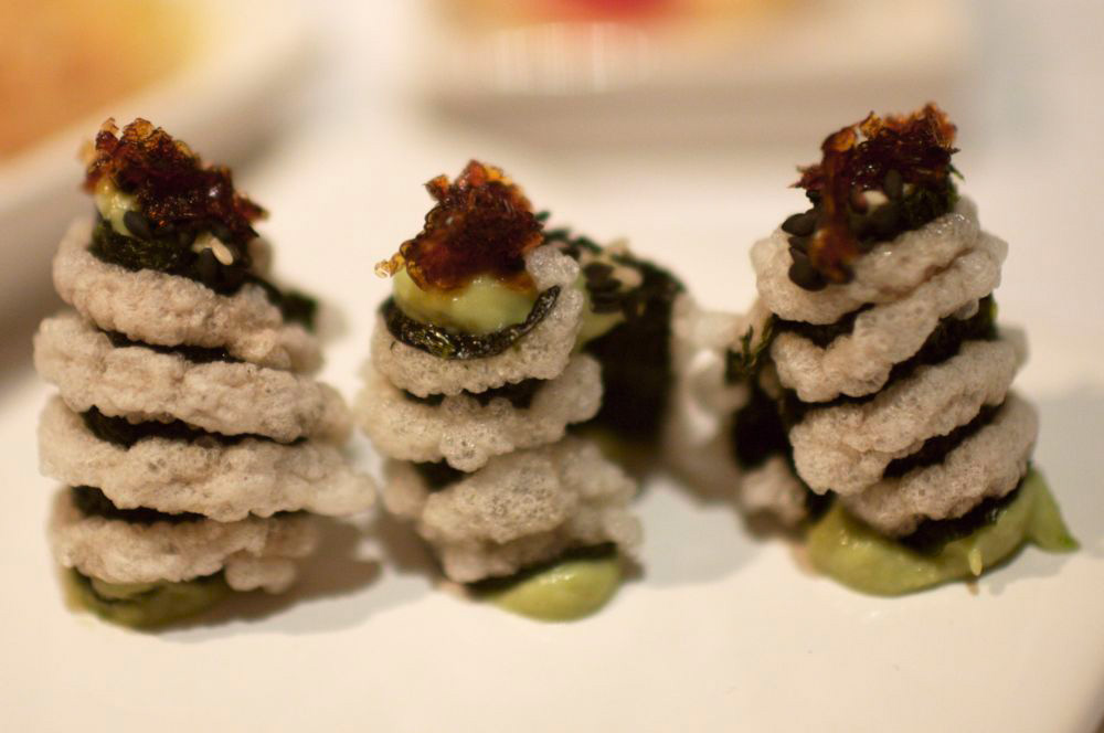 nori, crispy rice, wasabi paste