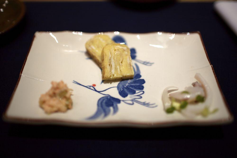 Salmon, Tamago, Tako Appetizer