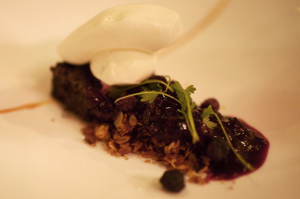 Blueberry, Black Olive Cake, Yogurt Sorbet