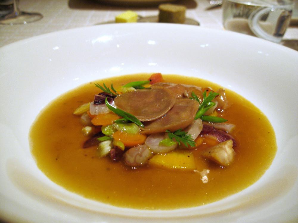 Beige, Tokyo - Foie gras chestnut flour ravioli, sauteed vegetables, duck bouillon
