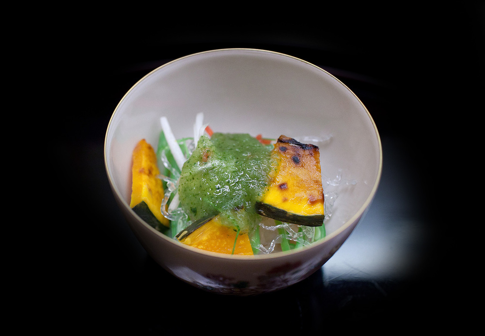 Chihana, Kyoto, Japan - Pumpkin, clear seaweed, and radish with vinegar
