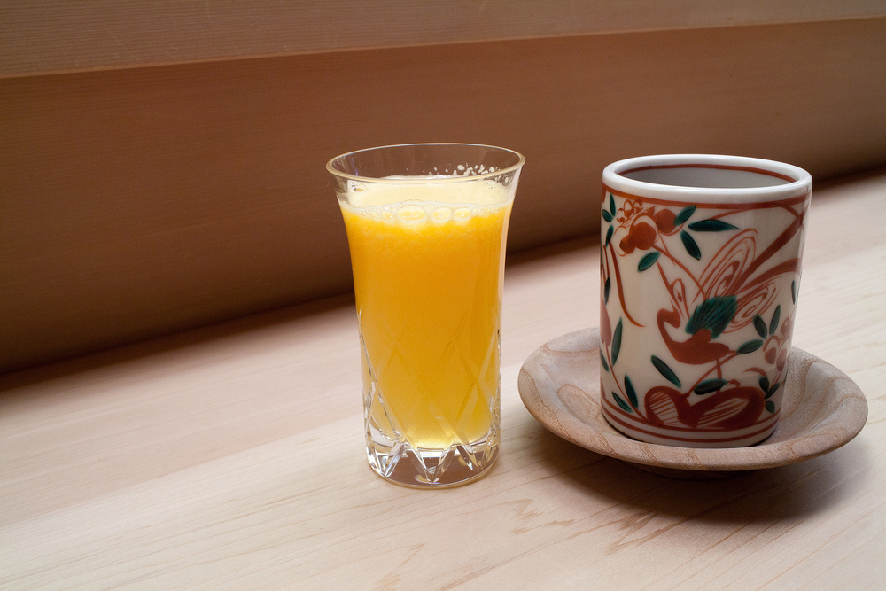 Chihana, Kyoto, Japan - Orange Juice and Green Tea