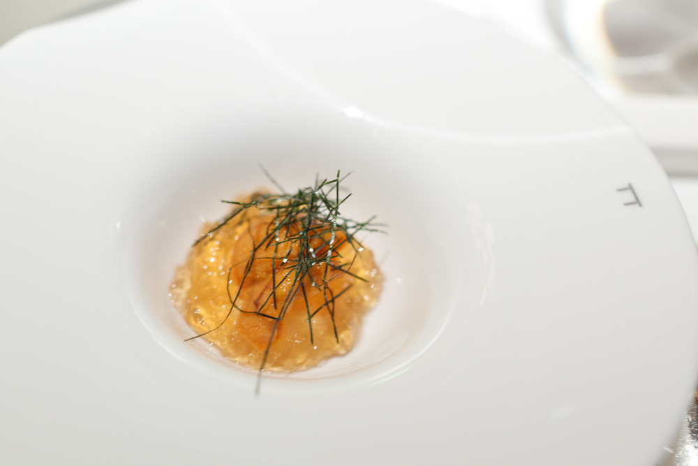 Pierre Gagnaire, Tokyo - Sea urchin and soba sauce jelly with crunchy turnips and nori seaweed