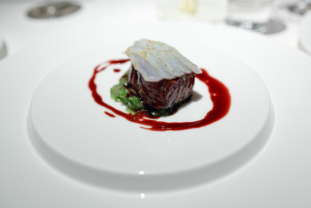 Pierre Gagnaire, Tokyo - Prime cut of grilled Hitachi beef, lacquered with red wine sauce, cuttlefish with lime, onion confit
