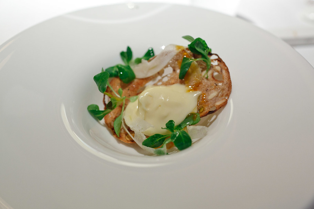 Pierre Gagnaire, Tokyo - Mont d'Or cheese, orange syrup, lamb's lettuce and fennel salad with hazelnut oil