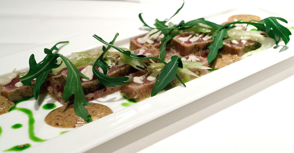 Signature, Tokyo - Thyme marinated tuna belly with confit fennel and black olives, delicate anchovy sauce and rocket leaves