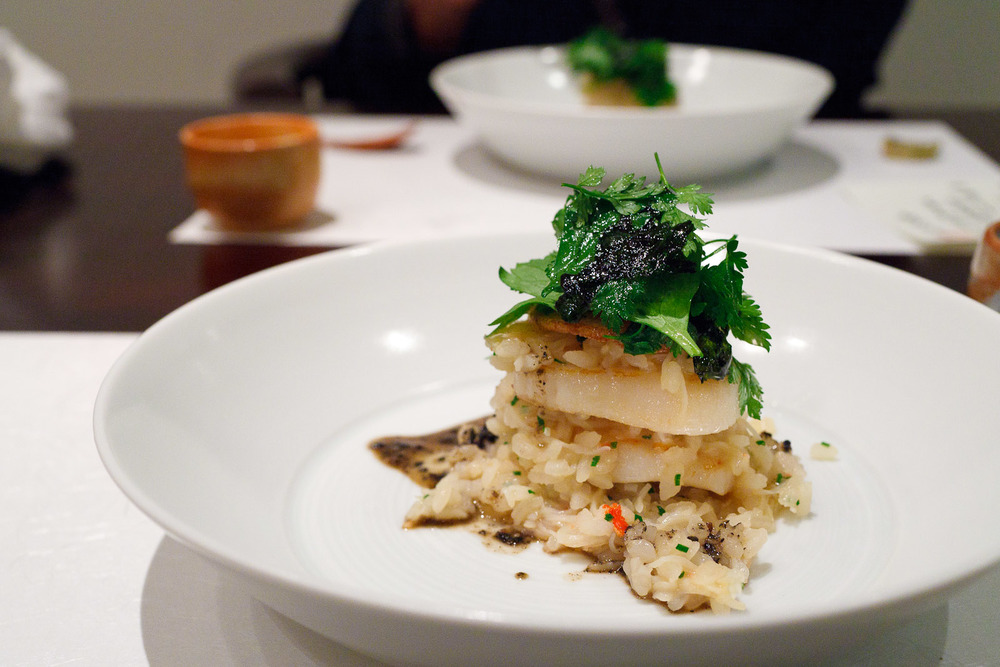 Esaki, Tokyo - Hokkaido scallop with crab risotto, black sesame, yam chips