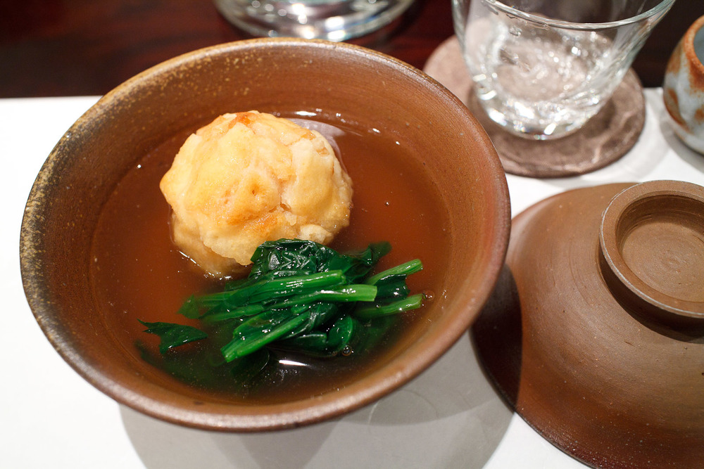 Esaki, Tokyo - Lily root dumpling with chicken and egg, Japanese spinach, crushed rice cracker