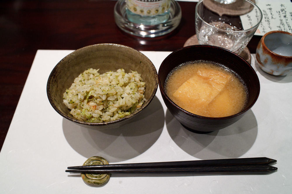 Esaki, Tokyo - Broccoli rice, miso soup with deep-fried and soft tofu