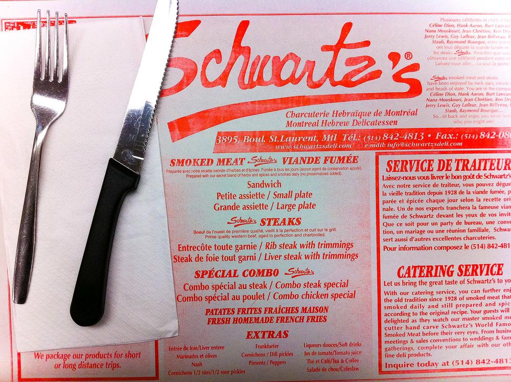 Schwartz's, Montreal - Placemat