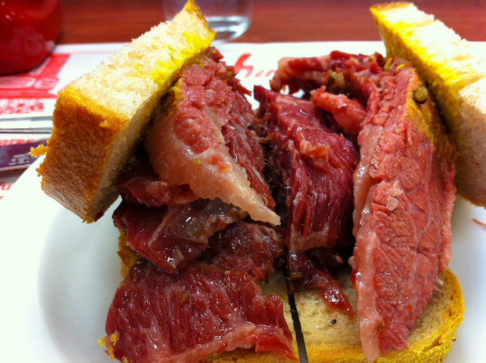 Schwartz's, Montreal - Smoked Meat Sandwich, Side View