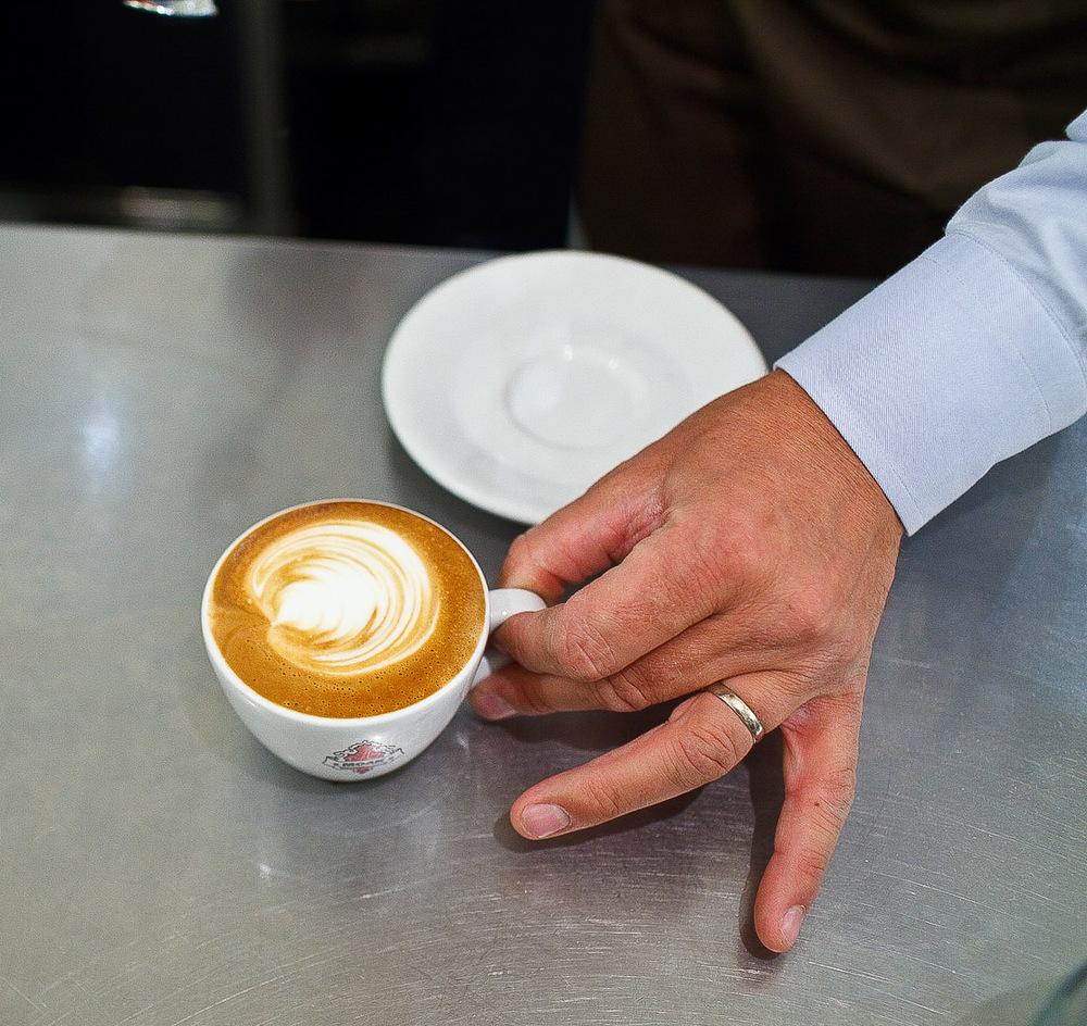 Espresso Sosta, Stockholm - Handing me a Cappuccino