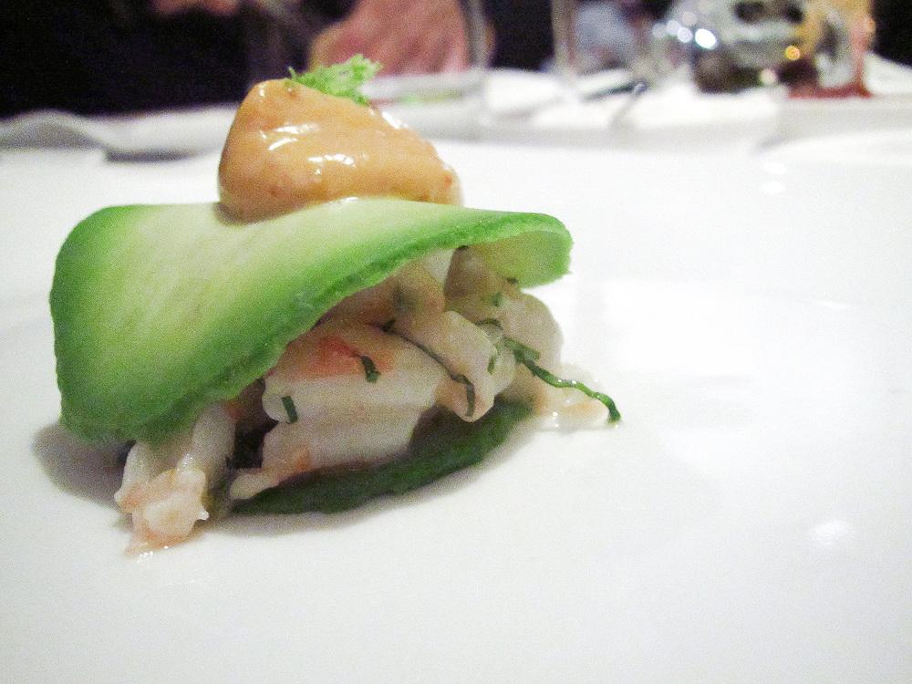 Pujol - Laminas de aguacate rellenas de camaron, mayonesa de chile puya, pesto de cilantro