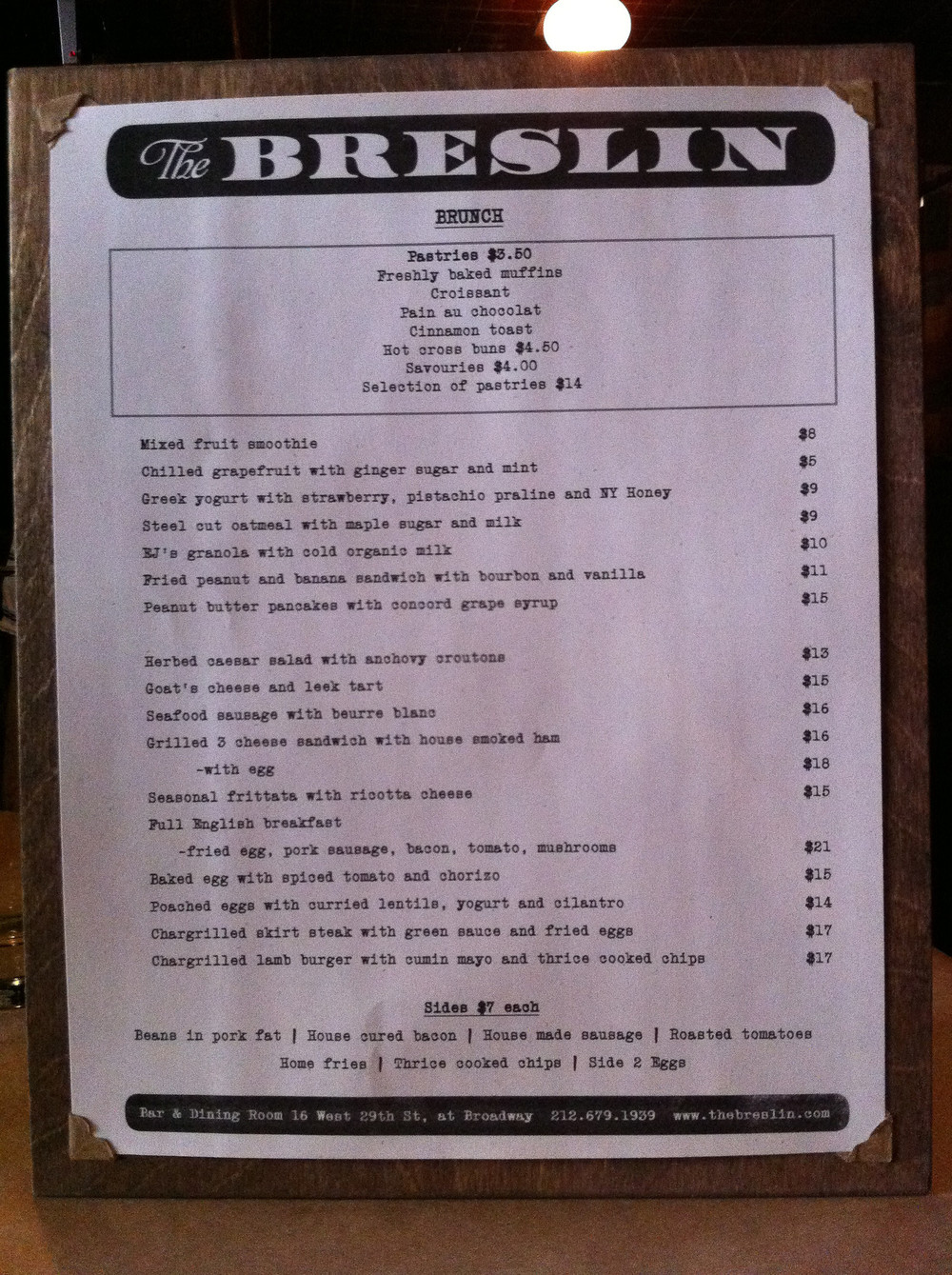 The Breslin - Weekend Brunch Menu