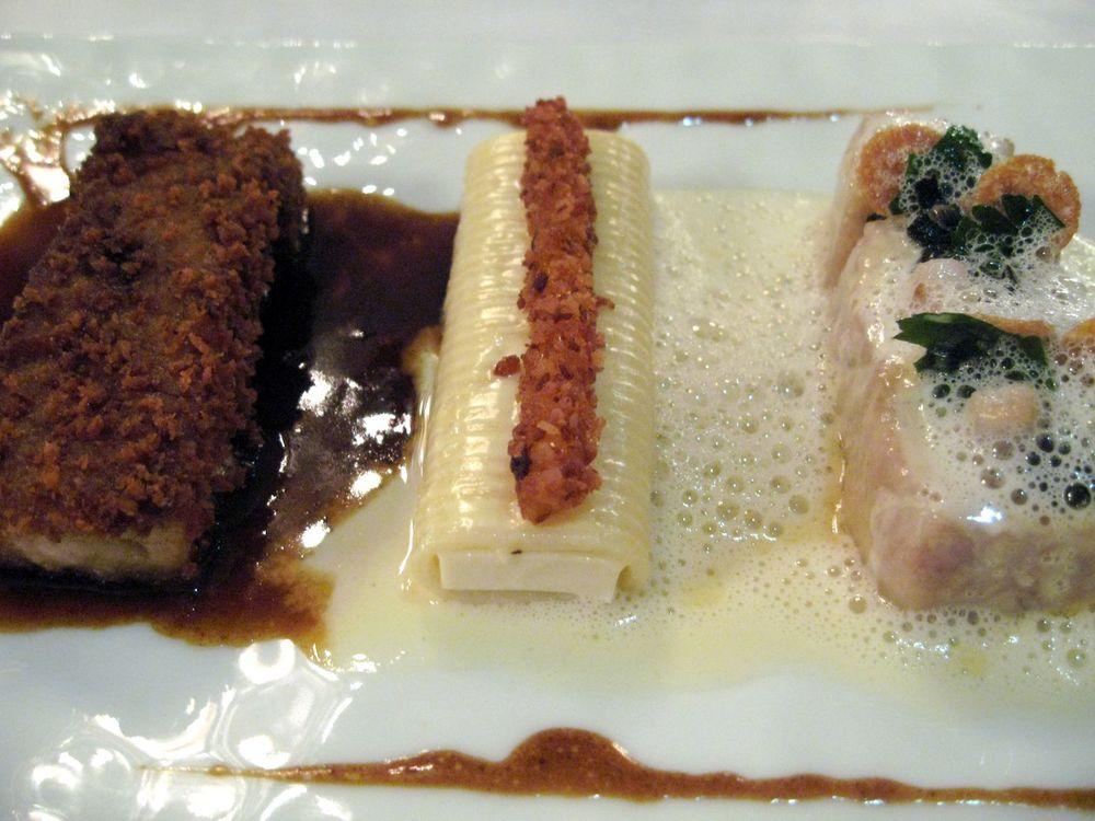 Ris de veau de lait blanc, brun, et spaghetti carbonara