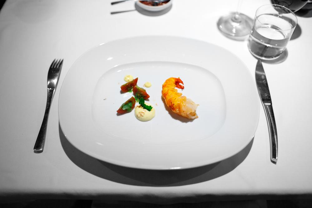 6th Course: Langostino cocinado en hoja santa, mayonesa de plátano morado con jitomate tigre