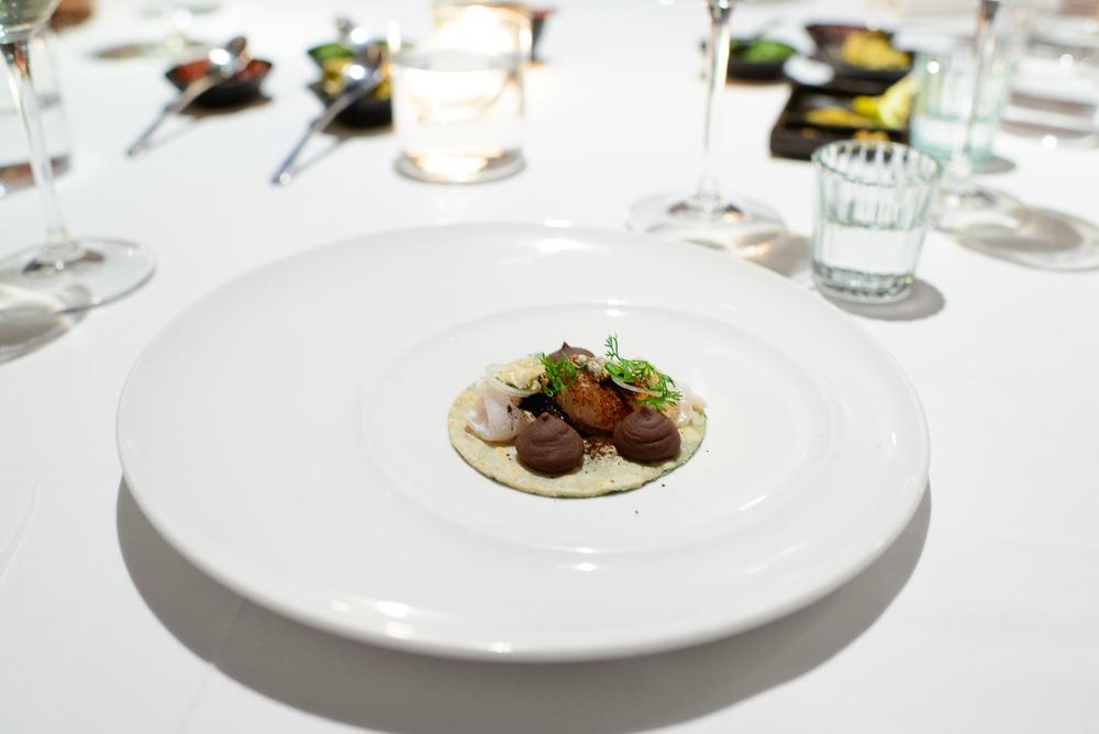 2nd Course: Taquito de pescado, frijol, chicharrón, hoja santa