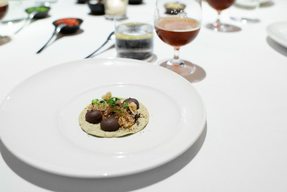 3rd Course: Taquito de pescado, frijol, chicharrón, hoja santa