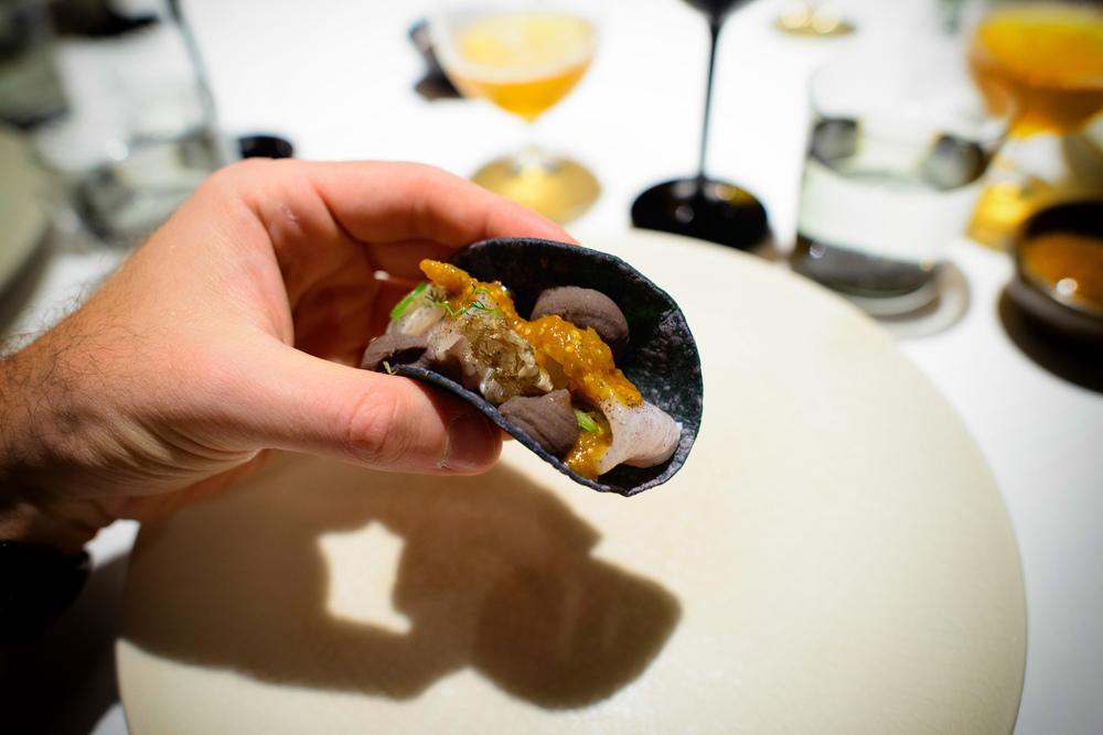 Taco de ceviche de pescado (Fish taco, crispy fish skin, chile),