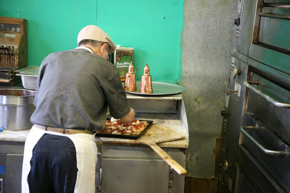 Di Fara - Laying Cheese on Top of Square Pie