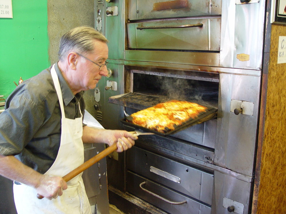 Di Fara - Taking Square Pizza out of the Oven