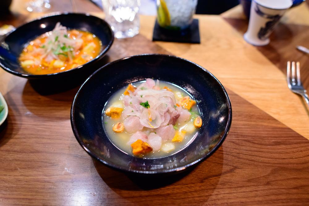 Ceviche classique, poisson du jour, leche de tigre, oignons roug