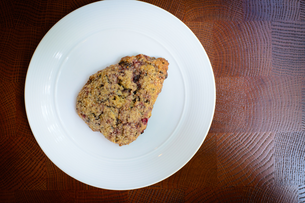 Dark chocolate raspberry scone ($3)