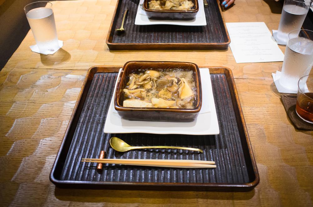 3rd Course: Mushroom casserole: mushroom, morel mushroom, tofu,