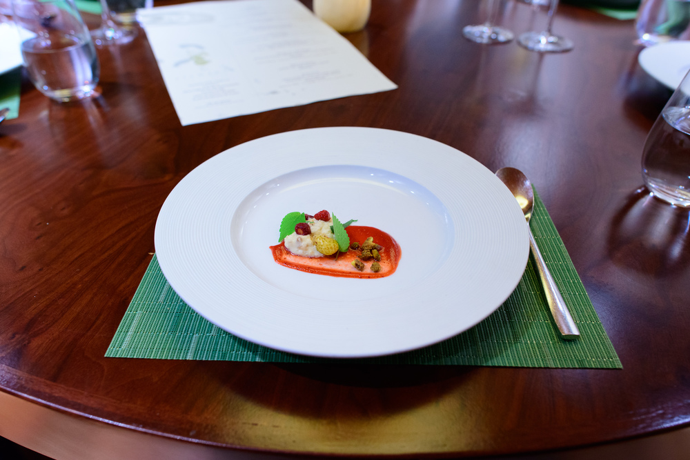 9th Course: Apline strawberry, cashew, thai chile, tarragon, hys