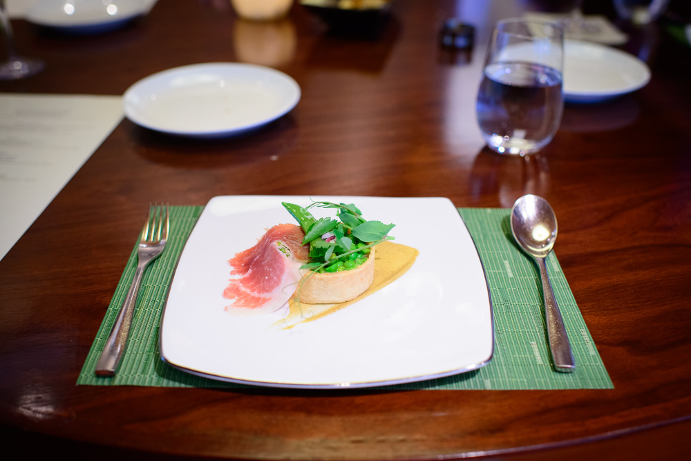 "4th Course: ""Pea tartlette"" - English pea, kunik, jamón (Scott"