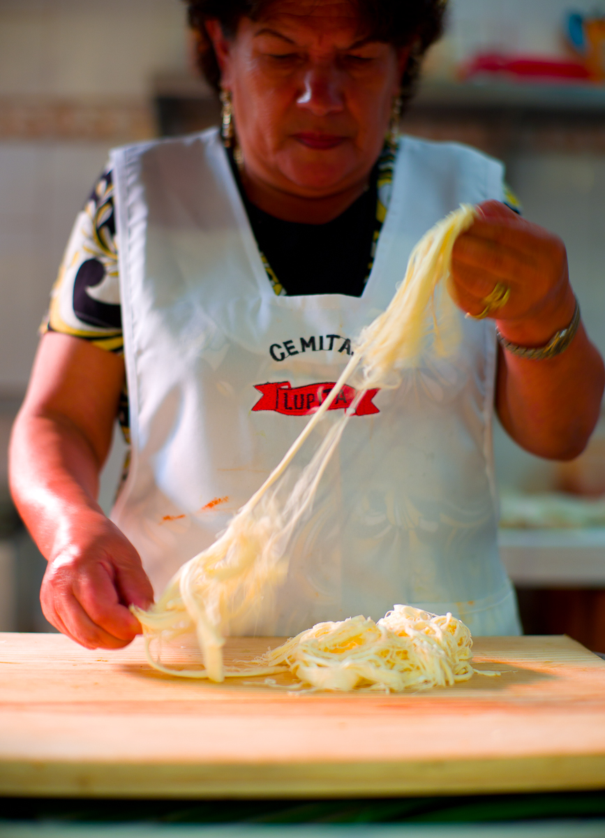 Quesillo deshebrado (Local Pueblan cheese pulled apart by hand)